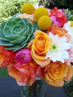 Colorful succulent bouquet I made for wedding; Colorful Succulents, Succulent Bouquet, Flora, Create, Rose, Plants, Wedding, Valentines Day Weddings, Pink