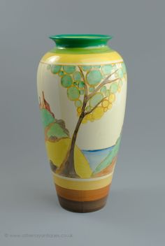 Clarice Cliff Fantasque Secrets Pattern Large Vase c 1933