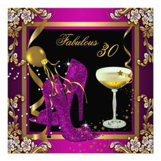 Fabulous 30 Plum Pink Gold Birthday Party Personalized Announcement