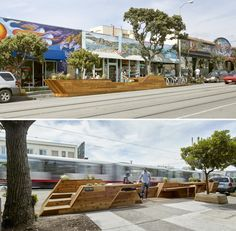 "INTERSTICE Architects » Sunset Parklet in San Francisco: The parklet consists of 4 ""strips"" that undulate along the length of the parklet, providing built-in seating, tables, and native planting, a dog watering area with leash ties, and a built-in bicycle rack and pump station //"