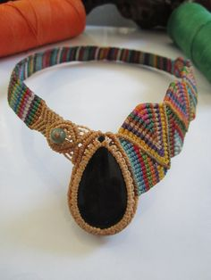 Obsidian Multicolor Macrame necklace handmade by PapachoCreations