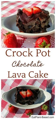 Did you know that you can make cake in your crock pot? There are few desserts easier than a crock pot lava cake, and this hot fudge chocolatey wonder is one of the best I've ever made. Great Desserts, Vegan Desserts, Dessert Recipes, Vegan Foods, Healthier Desserts, Vegan Appetizers, Snack Recipes, Lava Cake Recipes, Lava Cakes