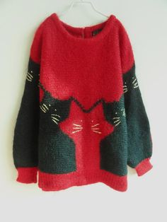 vtg 80S cat sweater. 46.00, via Etsy.