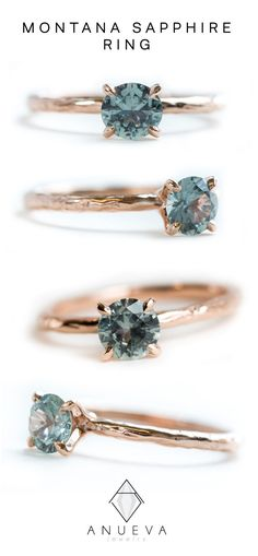 Light Blue Green Montana Sapphire Solitaire Ring- Organic Carved Rose Gold 4 Prong- Teal Mermaid Sapphire natural teal sapphire diamond ring, Rose Gold Engagement Rings That Melt Your HeartRough Emerald Ring, Rose Gold and Afghan Panjshir… Ring Set, Ring Verlobung, Bling Bling, Engagement Ring Rose Gold, Blue Wedding Rings, Halo Engagement, Gold Wedding, Wedding Bands, Sapphire Solitaire Ring