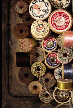 Vintage wooden spools