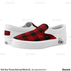 Rob Roy Tartan Red and Black Slip On Unisex Shoes Printed Shoes