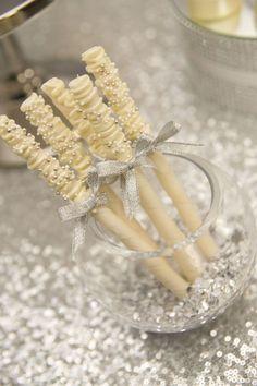 Metallic, Silver and Sequin Wedding Dessert Table Wedding Table Themes, Food Wedding Favors, Wedding Cookies, Wedding Desserts, Wedding Ideas, Anniversary Dessert, 25th Wedding Anniversary, Silver Anniversary, Anniversary Parties