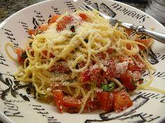 My cousin's recipe for Bruchetta Pasta (will use Vegan Parma)