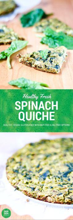 Fresh Spinach Quiche   WIN-WINFOOD.com #healthy #vegan #glutenfree #vegetarian #oilfree option