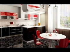 Interesting Modern Kitchen Dining Room With White Varnished Wooden Round Dining Table Also Red Plastic Modern Dining Chair Plus Black Varnished Wooden Kitchen Cabinet Design Modern Dining, Kitchen Furniture, White Kitchen Decor, Black Kitchens, Dining Room Design, Kitchen Decor, Interior Design Kitchen, Italian Kitchen Design, Retro Kitchen