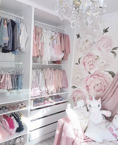 The Best in Nursery & Kid's Bedroom Closet and Storage Inspiration! Ikea Baby Nursery, Baby Nursery Closet, Baby Girl Closet, Nursery Wall Decals, Baby Bedroom, Baby Room Decor, Nursery Room, Girls Bedroom, Baby Wardrobe Organisation