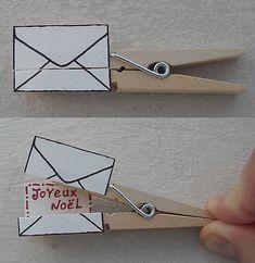 Message - enveloppe - pince à linge - marque place - art de la table