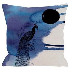 """Bring whimsical appeal to your living room sofa or reading nook arm chair with this eye-catching pillow, showcasing a cosmopolitan peacock motif. Made in the USA.   Product: PillowConstruction Material: Polyester cover and polyester down alternative fillColor: Black and blueFeatures:  Insert includedSewn closureMade in the USA Dimensions: 18"""" x 18"""""""