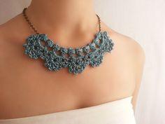 Collar azul elegante  Gargantilla crochet  Collar azul nupcial  Joyería de boda