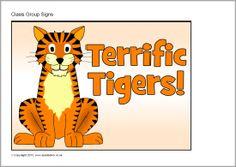 Tiger class group signs (SB9607) - SparkleBox