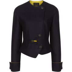 Cedric Charlier Navy Wool Asymmetric Buttoned Jacket ($745) ❤ liked on Polyvore featuring outerwear and jackets