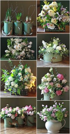 5 Steps to an Eco-Friendly Wedding  Not a fan of these flower arrangements particularly, but idea rather than cut flowers all planted so that could also be a party favor.