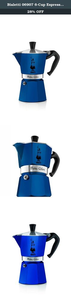 Bialetti 06907 6-Cup Espresso Coffee Maker, Blue. Bialetti's Moka Color stovetop espresso maker is a fresh new twist on the classic Bialetti design! Available in 4 bold colors, our new Moka Color makes the same great coffee in a stylish and fun vessel. The Bialetti Moka produces a rich, authentic espresso in just a few minutes. The colored aluminum pot also features Bialetti's distinctive eight-sided shape that allows it to diffuse heat perfectly to enhance the aroma of your coffee. The...