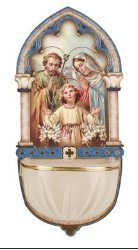 Holy Family holy water font Luminous with gold foil highlights. Foil Highlights, Water Font, World Religions, Prayer Cards, Holy Family, Collectible Figurines, Religious Art, Catholic, Prayers
