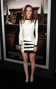 Leighton Meester Cocktail Dress - Leighton Meester went the ultra-modern route at the premiere of 'The Judge' in a black-and-white Balmain mini boasting architectural detailing on the skirt.