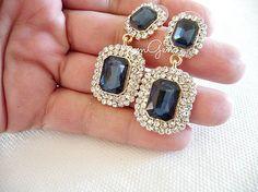 Crystal earrings sapphire earrings sapphire blue earrings by mmgem