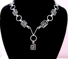 Greek Key and  Rings  Necklace with a Pendant | byBrendaElaine - Jewelry on ArtFire