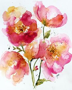 Watercolor quin rose abstract floral 5x7 Print