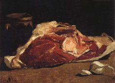 'Still Life with Meat' (1862-63) by French painter & founder of French Impressionism, Claude Monet (1840-1926).