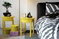 yellow bedside tables