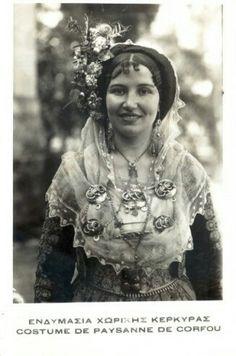 Bride from Corfu island Europe Fashion, Women's Fashion, Corfu Island, Costumes Around The World, Greek History, Folk Dance, Folk Costume, Flower Fashion, Ancient Egypt