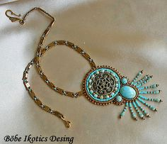 Bead Embroidery Necklace  Turquoise Bronze  Bead Embroidered OOAK. $110.00, via Etsy.