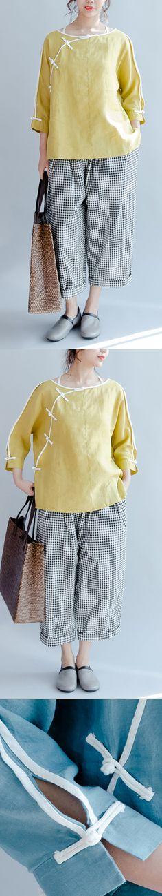 8e0dcf75d1d 2017 yellow linen casual blouse plus size vintage shirts mandarin long  sleeve tops Plus Size Vintage