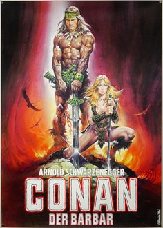 The German teaser poster for Conan the Barbarian, designed and painted by Renato Casaro, 1982. The German distributors asked Renato to adapt...