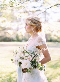 This is the perfect way to incorporate a romantic braid #bridalupdo #braidedweddinghairstyle #braidedupdo