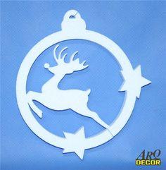 Pracownia Dekoracji ARQ - DECOR - Bombka Z Reniferem 24 CM (NA ZAMÓWIENIE) 03 Dekoracje Bożonarodzeniowe