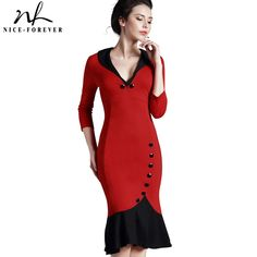 Lowest Price $14.75, Buy Nice-forever Mermaid Button Autumn 3/4 Sleeve red New Vintage dress V neck formal work bodycon office Wiggle Midi dress b27