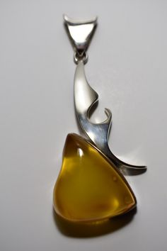 Baltic Amber Pendant Sterling Silver Amber Jewelry by PMKJewelry