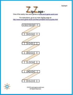 Try our fun, wacky ZigZag wordpuzzles! How long will it take you to find the seven-letter words to complete the Z-shaped word puzzle? Printable Word Games, Free Printable Crossword Puzzles, Free Printables, I Spy Games, Letter N Words, Meal Planner, Word Work, New Words, Esl