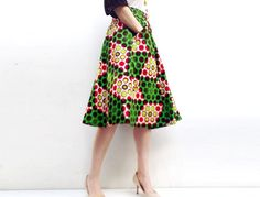 Green African Print Below Knee Skirt, Elastic Waist Skirt with Big Pockets, African Print Clothing on Etsy, $136.00