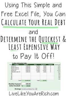 How to Calculate Your Real Debt and the Quickest-Least Expensive Way to Pay It Off Love this free calculator, it is super helpful! It shows how to Calculate Your Real Debt and the Quickest-Least Expensive Way to Pay It Off Budgeting, Budget Tips Ways To Save Money, Money Tips, Money Saving Tips, Saving Ideas, Managing Money, Mo Money, Money Plan, Dave Ramsey, Budgeting Finances