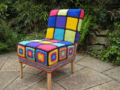 Items similar to Vintage Funky Crochet Granny Squares Covered Small Chair to suit any room on Etsy Modern Crochet, Crochet Art, Crochet Home, Cute Crochet, Crochet Patterns, Crochet Squares, Crochet Granny, Granny Squares, Crochet Furniture
