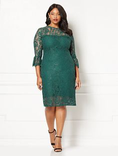Alessandra Plus Size Beaded Lace Dress in Navy Size 14 XS