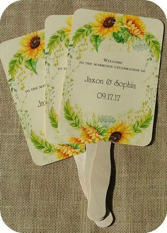 buy Personalized Rustic Wedding or Outdoor Party Fans - Sunflower theme...keep your guests cool...fully assembled