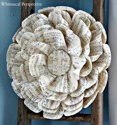 Fancy Paper Flower Tutorial - DIY craft idea for so many ways. DIY home decor, gift wrap bow idea (smaller version) and other paper crafts. By Whimsical Perspective Handmade Flowers, Diy Flowers, Fabric Flowers, Paper Flowers, Diy Paper, Paper Crafts, Diy Crafts, Sheet Music Crafts, Music Paper