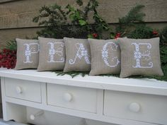 PEACE  Mini Pillows Christmas Cross Stitch on Linen by twood59, $20.00