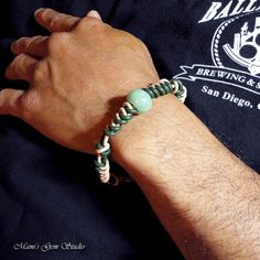 Green Aventurine and Braided Leather Bracelet for Men Handcrafted | Mamis_Gem_Studio - Jewelry on ArtFire