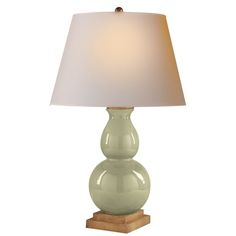 Chart House E.F. Chapman Small Gourd Form Table Lamp in Crackled Celadon with Natural Paper Shade by Visual Comfort CHA8613CC-NP