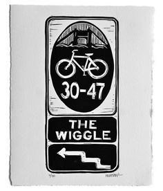 This one goes out to all the two-wheeled Wigglers out there--every bike-riding SFer who's made the journey between the Panhandle and Duboce Park. Pay tribute to the flat path with this linocut print by Eric Rewitzer.