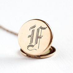 Sale  Antique Rose Gold Filled Initial F or L Locket Necklace