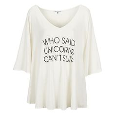 Wildfox Women's Unicorn Surfer Tahiti Tunic ($42) ❤ liked on Polyvore featuring tops, tunics, white, off the shoulder tunic, v neck tunic, white v neck top, white tops and white tunic